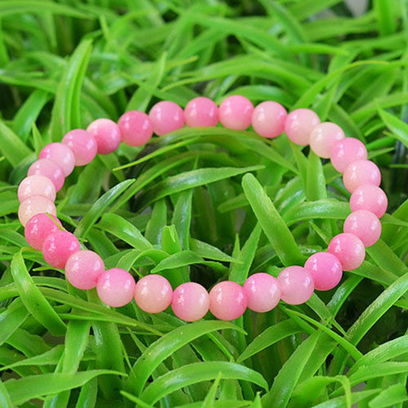 MOROW Hot Popular Natural Pink Peach Gem Round Stone Beads Bracelets for Women Birthday Gift Fashion Elasticity Bracelet Jewelry