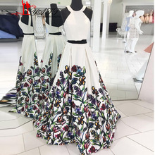 Liyatt 2017 New Fashion Floral Flowers Pattern Print Long Prom Dresses White Trendy Two Pieces Prom Evening Gowns Vestido MN015