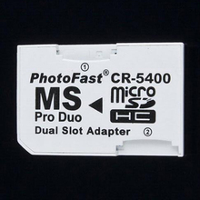 Photofast CR-5400 MS pro duo Dual slot adapater Transfer Micro SD TF card  to Memory Stick Pro Duo for sony psp PS camera CR5400