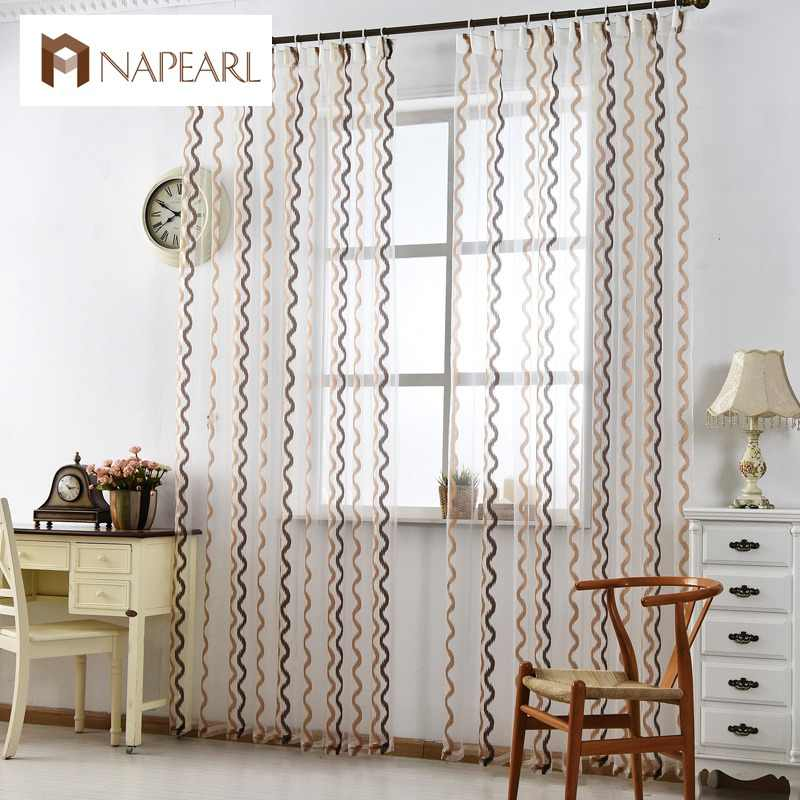 NAPEARL Stirped tulle curtains modern window treatments white sheer fabrics ready made jacquard kitchen door curtains balcony