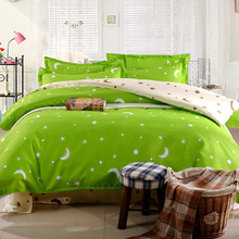 Fashion cartoon kid adult polyester green star bedding sets,Duvet cover Bed sheet Pillowcase twin full queen size Home textile