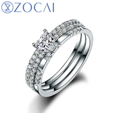 ZOCAI 100% natural diamond ring 0.75 ct certified diamond 18K white gold ring 3 pcs wedding bands fine jewelry W05903