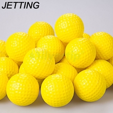 HOT 10Pcs Outdoor Sports Yellow Golf Balls Golf Practice Training Balls Training Aid Plastic Golf Ball(China)