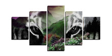 5 Panels High Quality Picture  Tiger Head Mountain   Picture Canvas Print Wall Art Picture Home Decor