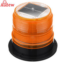 1Pcs Yellow Solar 6 LED Beacon Emergency Light Warning Strobe Lamp Roof Round Waterproof Solar panels For Car Truck caravan Bus(China)