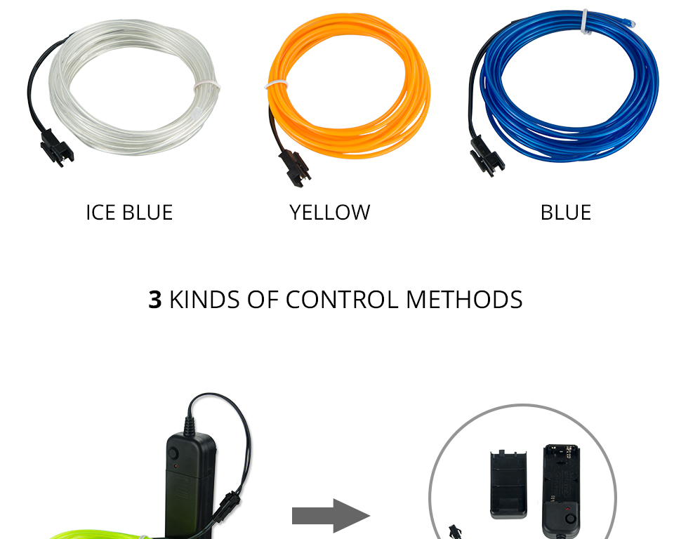 1M2M3M5M Waterproof LED Strip Light Neon Light Glow EL Wire Rope Tube Cable+Battery Controller For Car Decoration Party (6)