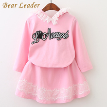Bear Leader Girls Clothes Set 2017 New Autumn Lovely Long Sleeve Cute Rabbit Lace Hooded Sweater + Short Skirt 2Pcs For 3-7Years(China)