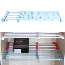 Wardrobe Storage Rack Kitchen Adjustable Nail-free Plastic Shelf Divider Shelving Holders for cupboard Bathroom Accessories