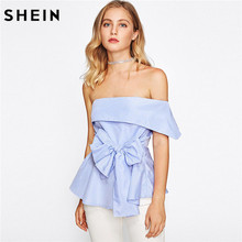 SHEIN Women Blouses Summer 2017 Ladies Sexy Tops Blue Fold Over One Shoulder Cap Sleeve Belted Tailored Peplum Top(China)