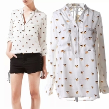 Hot Sale! Free Shipping 2015 New Summer European Style Blouse Chiffon Dog Print Blouse Drop Shipping Stand Collar Shirt Blouse