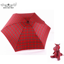 Women Ultralight Manual Umbrellas With Lovely Bear Small Umbrella Case 5 Folding Anti-UV Sun/Rain Elargol Coating Parasol