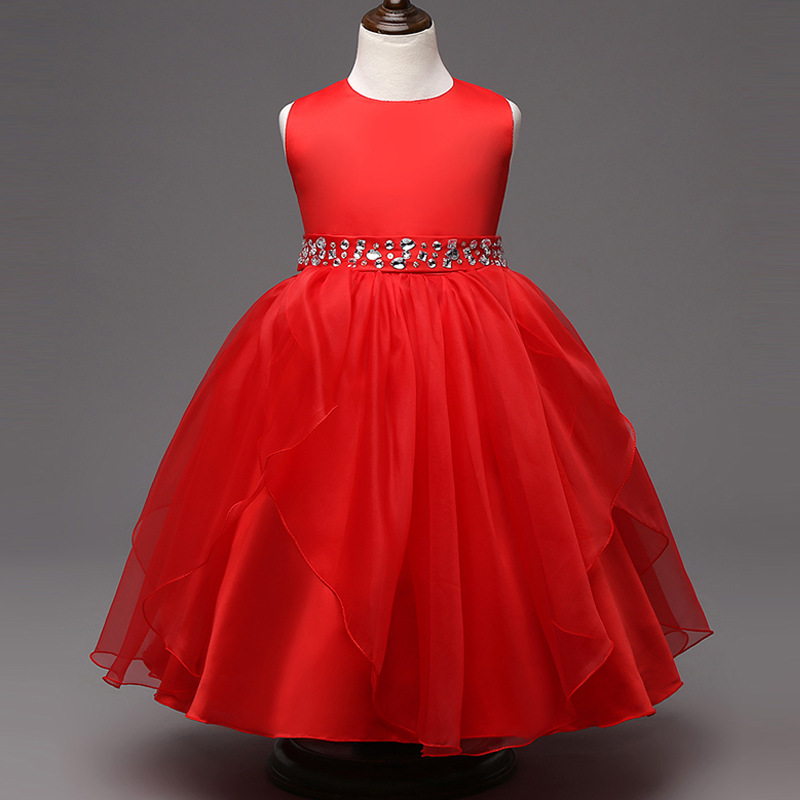 Holiday dress fashion new arrival hot pink white red navy blue crystal  dresses for 8-15 year olds for a wedding2.2<br>