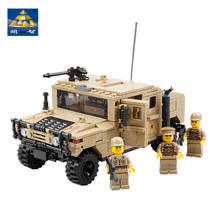 GBL Military Vehicles Hummer H1 Scale Model Building Kits Field Forces Heavy Type Gun Weapon Equipment 3D Bricks Toys(China)