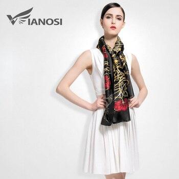 [Vianosi] mais novo top design mulheres cachecóis xaile do lenço de seda da marca de luxo de alta qualidade de impressão bandana va007