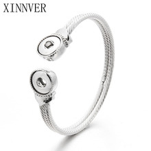 Newest Snap Bracelet Fit 12mm Snap Button Jewelry Real Stainless Steel Cuff Bracelet Unisex DIY jewelry Gifts ZE145(China)