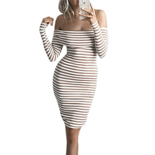 Buy Bodycon Autumn Winter Knit Sexy Dress Striped Women Dresses Long Sleeve Knee Length Warm Dress Slash Neck Vestidos Mujer LX361 Limited) for $12.99 in AliExpress store