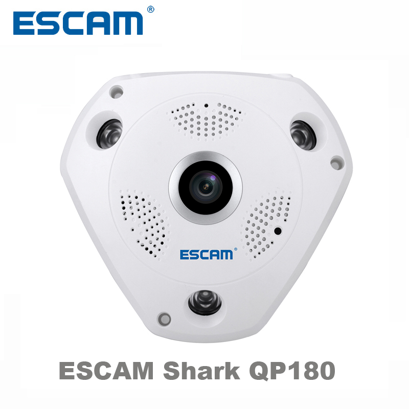 ESCAM Shark QP180 HD 960P 1.3MP 360 degree panoramic fisheye infrared camera VR camera support VR box and micro SD card<br>