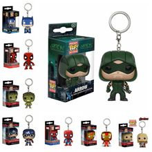 Marvel The Avengers Captain America Green Arrow FUNKO POP Pocket Keychain Deadpool Thor PVC Action Toy Figure Collection KeyRing