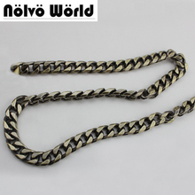 5 meters 11mm Wide 8 Sides Polished Flat Squared Circle Ring Retro Brush Brass Chain for women bags handbags adjusted strap(China)