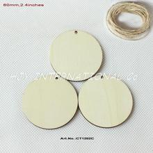 (50pcs/lot) 60mm Blank Wood Circle Necklace Round Wooden Disks With Hole Favor Tags 2.4 inches -CT1202C(China)