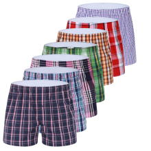 7 Pcs / Lot Men Underwear Boxers Cotton Underpants Boxer Shorts High Quality Cuecas Boxers 7pcs /lot Plaid Comfortable Panties(China)
