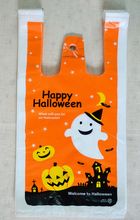 "100pcs/lot Size 18*35cm(7""*14"") Shopping plastic Bag with handle Halloween days gift shopping plastic bag(China)"
