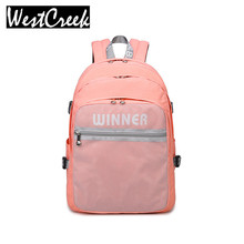 2017 High Quality Solid College Students Pink Backpack Teens Girls Designer Outside Mesh Bag Waterproof Polyester Backpacks Lady