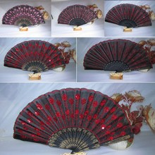 Folding Sequins Hand Fan Wedding Party Home Decor Fan Traditional Chinese Fans Embroidered Peacock Fan China Royal Supplies New(China)