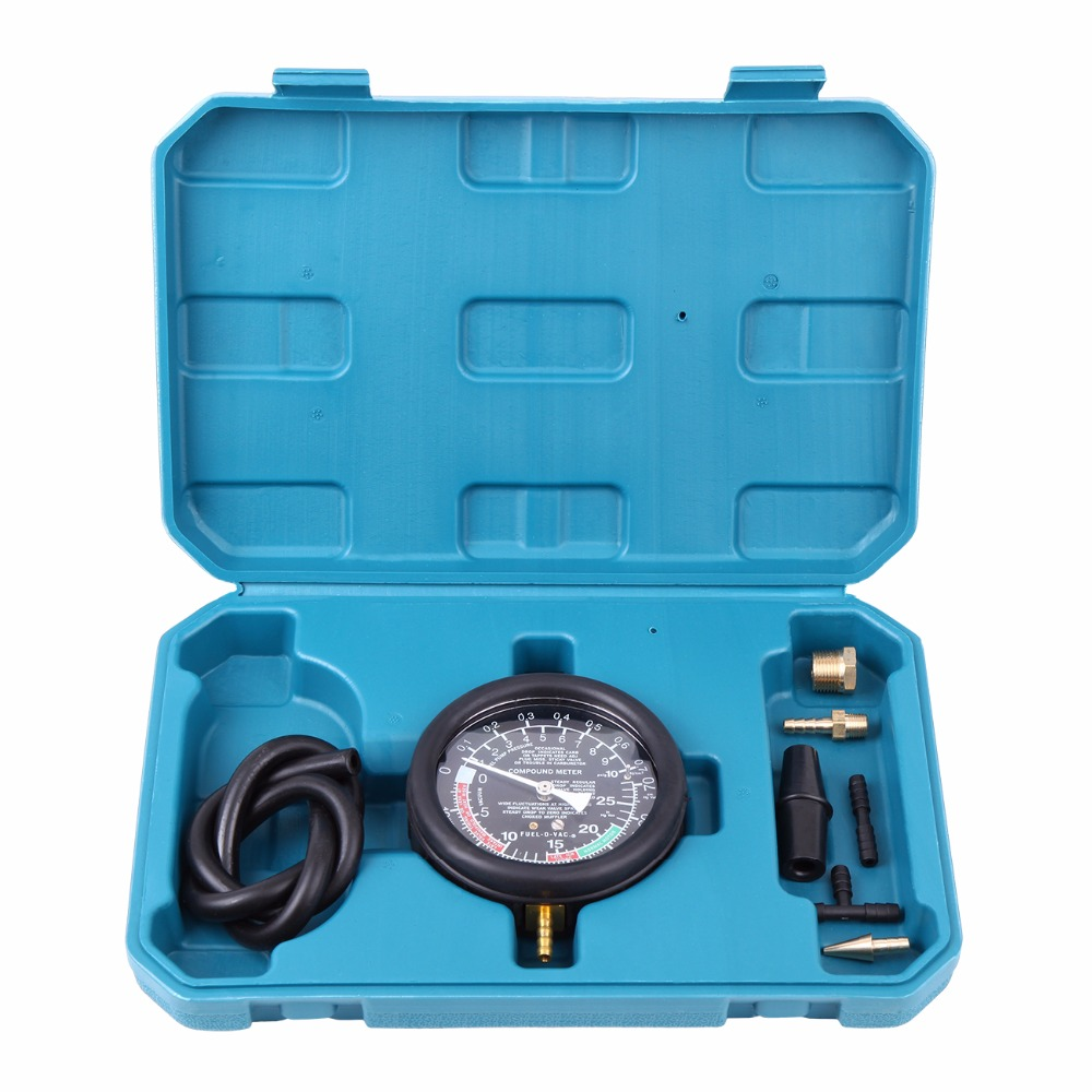 Car Carburetor Valve Fuel Pump Pressure Vacuum Tester Manifold Gauge Test Car Diagnostic Tool<br>