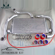 TURBO INTERCOOLER KIT ALUMINUM PIPING KIT FOR SKYLINE R32 GTS-T + SILICONE HOSE T-CLAMPS RED