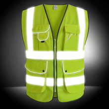 CCGK Reflective Vest High Visibility Safety Clothing Multi pockets Fluorescent Clothes For Outdoor Working Running Cycling Sport(China)