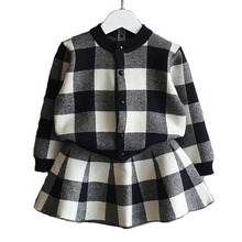 Children'S Wear 2017 Autumn Style Fashionable Wind Little Girl'S Clothes Plaid Long-Sleeved Jacket+Dress Kids Clothes Set 3-7Y(China)