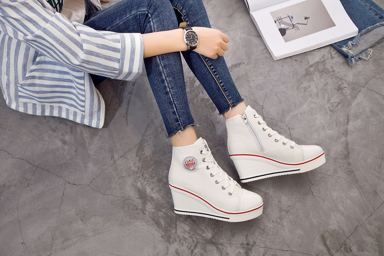 Women's Shoes Hidden Wedge Heel Shoes 18 Women Casual Shoes Canvas Sneakers High Top Breathable Platform Chaussure Femme 28