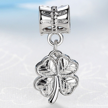 NBSAMENG White Silver Plated Pendant Lucky Clover Charm Beads Fit Women Snake Chain Diy Bracelets & Bangles Jewelry YW15574