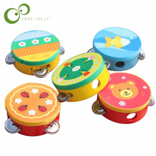 Baby Kids Wooden Musical Toys Drum Rattles Toy Tambourine Educational Toys Gift Hand Held Tambourine Drum Bell GYH(China)