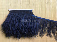 10yards/lots navy  Ostrich Feather Plumes Fringe trim 10-15cm Feather Boa Stripe for Party Clothing Accessories Craft