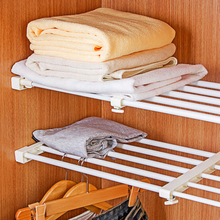 1Pcs 47-76cm Multifunctional Telescopic Layered Rack Stainless Steel Storage Rack Wardrobe Holder Telescopic Scope(China)