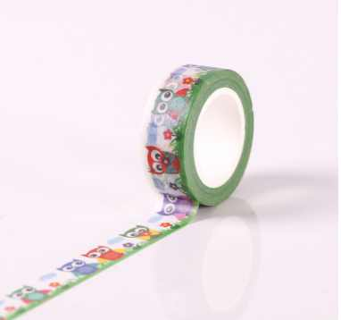 AB151-15mm*10m green owl diy decorative washi adhesive tape(50pieces or 100pieces)<br>