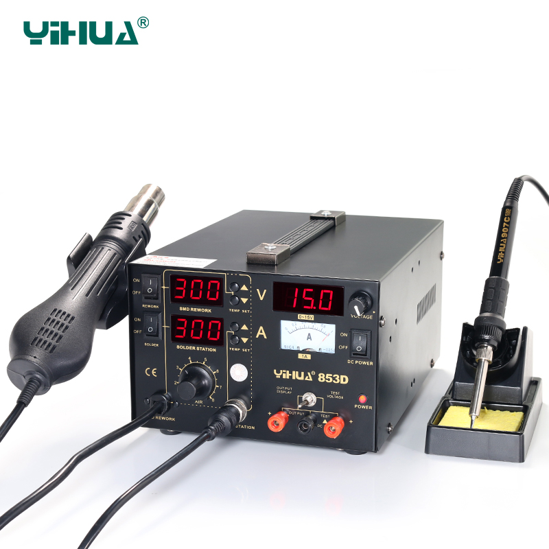 YIHUA 853D Temperature Controlled 3 In 1 Soldering Station With DC 1A Power<br><br>Aliexpress