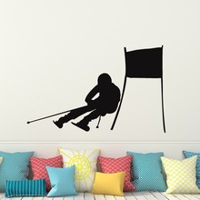 Skiing Wall Decal Vinyl Home Decor Skier Snow Freestyle Jumping Winter Wall Sticker Bedroom Extreme Sports Decor Mural(China)