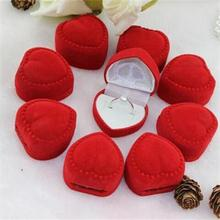 2016 New Popular High Quality 10pcs Romantic Jewelry Packaging Red Heart Ring Gift Boxes Jewelry Supplies