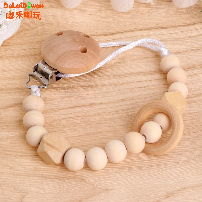 Baby Infant Toddler Dummy Pacifier Soother Nipple Wooden Chain Clip Holder Gift