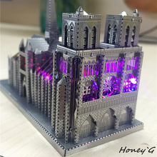 Chinese Metal Earth ICONX 3D Metal model kits 9 inch Notre Dame de Paris 2 Sheets Military Nano Puzzles DIY Creative gifts