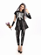 New Sexy Women Skull Long Skeleton Dress Adult Halloween Costume Cosplay Lace Vampire Bride Fancy Dress Party