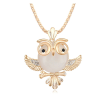 High Quality Vintage Necklace Zinc Alloy Crystal Jewelry Owl Necklace Pendant Long Popcorn Chain Necklace Cute Neckalce(China)
