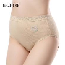 Buy Embroidery Flower Cotton Women Panties High Waist Slim Female Underwear Sexy Lace Thread Woman Knickers 7 Colors 3 Size Briefs