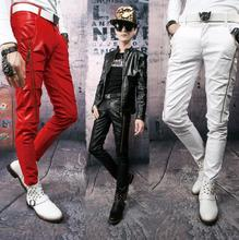 Stage black red white fashion punk zipper pants mens pants motorcycle leather pant men feet trousers 1 fashion clothing(China)