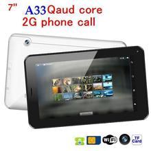 discount!!cheapest tablet pc 7 inch AllWinner A33Quad Core Bluetooth WIFI+512MB/4GB+ Android 4.4+2G GSM phone call tablet pc