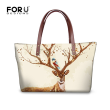 FORUDESIGNS Lucky Sika Deer Handbag Famous Brand for Women Shoulder Bag Pouch Printing Lady Tote Large Capacity Zipper Fashion(China)