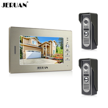 JERUAN Brand New 7`` color screen video doorphone sperakerphone intercom system 1 monitor+two 700TVL COMS camera  FREE SHIPPING
